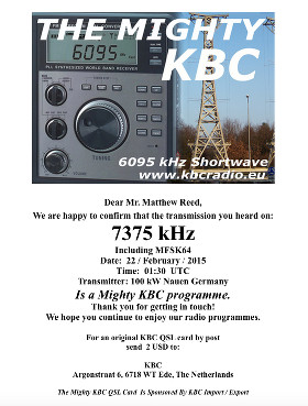 QSL card from The Mighty KBC